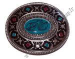 Indian turquoise and red pattern buckle