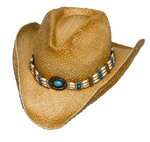 RAFFIA STRAW BLUE,BROWN,TAN BEADED BAND