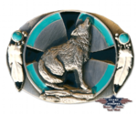 WOLF turquoise belt buckle