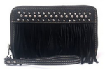 Black wallet suede fringe