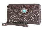 Coffee Wallet with Turquoise concho
