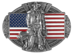 rancher on American flag belt buckle