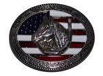 Horse and USA flag belt buckle