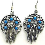 Dream catcher earrings with three leather