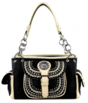 Black/tan tooled concealed purse