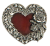 Red enameled heart buckle