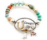 Elastic cowgirl up beaded bracelet
