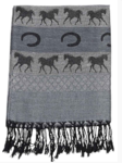 Gray Pashmina and silk with horses