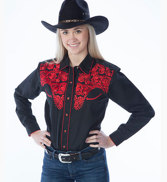 Womens Tooled black western shirts